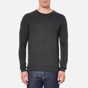 Selected Homme Men's Tower Merino Crew Neck Knitted Jumper - Medium Grey Melange