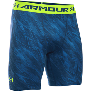Under Armour Men's HeatGear Armour Printed Compression Shorts - Blue/Yellow
