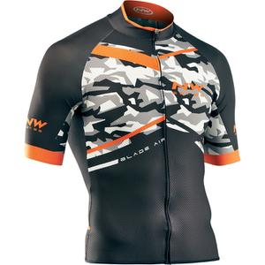 Northwave Blade Air Full Zip Short Sleeve Jersey - Camo/Orange Fluo