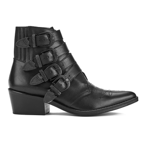 Toga Pulla Women's Limited Edition Buckle Side Leather Heeled Ankle Boots - Black