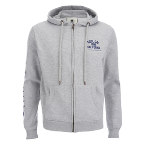 Soul Cal Men's Sleeve Print Logo Zip Through Hoody - Grey Marl