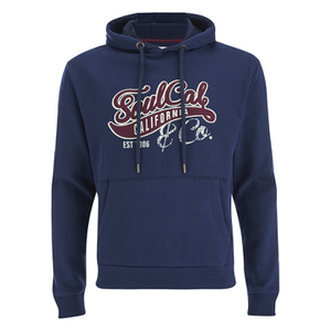 Soul Cal Men's Cracked Print Logo Hoody - Navy