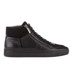 HUGO Men's Futurism Leather Hi-Top Trainers - Black