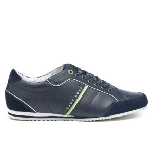 BOSS Green Men's Victoire LA Leather Trainers - Dark Blue