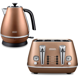 De'Longhi Distinta 4 Slice Toaster and Kettle Bundle - Copper Finish