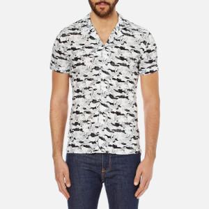 J.Lindeberg Men's Dani Short Sleeve Drapey Print Shirt - Off White