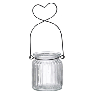 Parlane Glass Heart Hanging Tealight Holder - Clear (14cm)