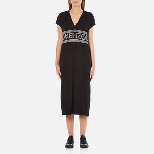 KENZO Women's Stripe Logo Mid Cotton Dress - Black