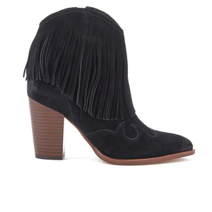 Sam Edelman Women's Benjie Leather Tassle Heeled Ankle Boots - Black