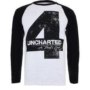 Uncharted 4 Herren Distressed 4 langärmlige Raglan Top - Weiss/Schwarz