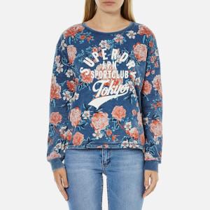 Superdry Women's Romance Floral Burnout Crew Neck Sweatshirt - Baroque Roses Blue