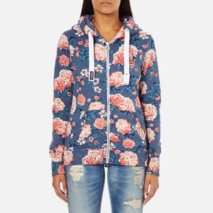Superdry Women's Orange Label All Over Print Primary Zip Hoody - Baroque Roses Blue