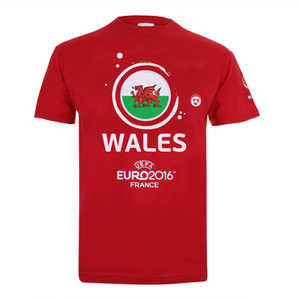 Euro 16 Men's Wales Badge T-Shirt - Red