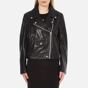 McQ Alexander McQueen Women's Casual Leather Biker Jacket - Black