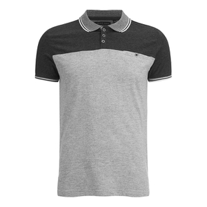 Brave Soul Men's Steranko Panel Tipped Polo Shirt - Charcoal