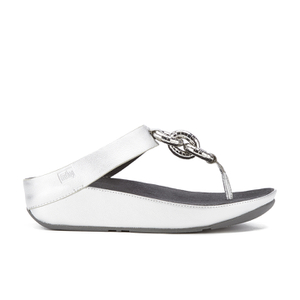 FitFlop Women's Superchain Imi-Leather Toe Post Sandals - Silver