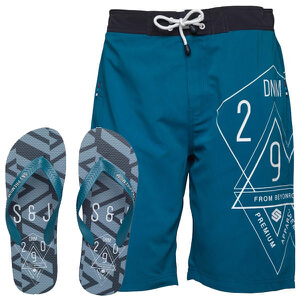 Smith & Jones Men's Amplitude Swim Shorts & Flip Flops - Lyon Blue