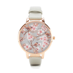 Olivia Burton Women's Painterly Prints Blossom Birds Watch - Grey Rose Gold