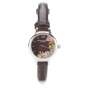 Olivia Burton Women's Flower Show Mini Dial Watch - Black Silver