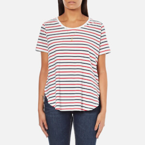 Maison Scotch Women's Basic Short Sleeve T-Shirt With Longer Back - Multi