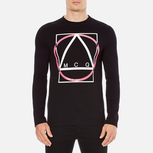 McQ Alexander McQueen Men's Abstract McQ Printed Long Sleeve Crew T-Shirt - Darkest Black