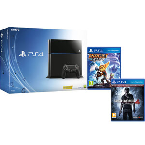 Sony PlayStation 4 500GB Console - Includes Uncharted 4: A Thief's End + Ratchet & Clank