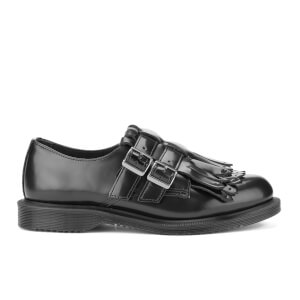 Dr. Martens Women's Ellaria Polished Smooth Double Strap Kiltie Monk Shoes - Black