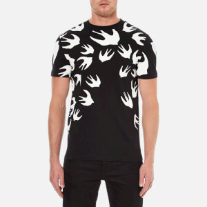 McQ Alexander McQueen Men's Swallow Print Crew T-Shirt - Darkest Black