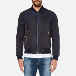 Versace Collection Men's Patterned Zipped Blouson Jacket - Blu-Nero