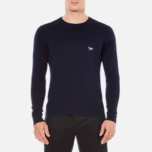 Maison Kitsuné Men's Crew Neck Virgin Wool Jumper - Navy