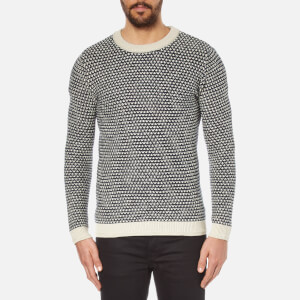 Selected Homme Men's Hoxton Crew Neck Knitted Jumper - Vintage Khaki/Blueberry