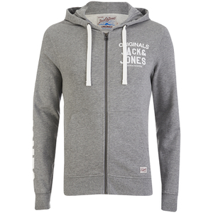 Jack & Jones Men's Originals Masum Zip Through Hoody - Light Grey Marl