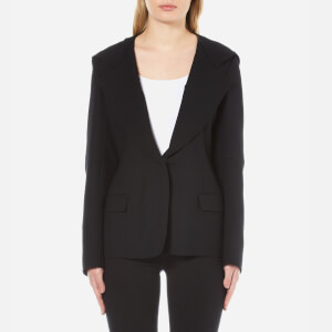 DKNY Women's Long Sleeve Collared Jacket with Hood - Black