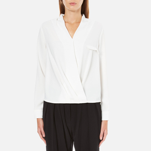 Paisie Women's Wrap Blouse with Pleated Neck - White