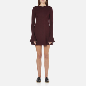 McQ Alexander McQueen Women's Volant Sleeve Dress - Port