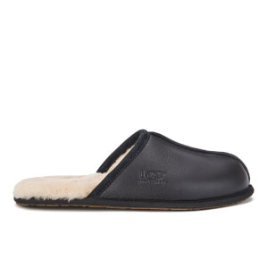 UGG Men's Scuff Leather Sheepskin Slippers - Black
