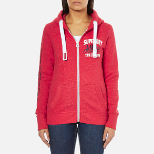 Superdry Women's Track And Field Zip Hoody - Cherry Red Snowy