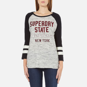 Superdry Women's Football Applique Top - Canyon Grey Marl/Black