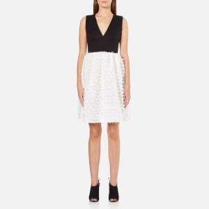 French Connection Women's Summer Sky V Neck Flared Dress - Winter White/Black