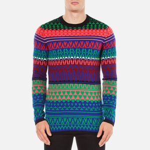McQ Alexander McQueen Men's Geo Fairisle Crew Neck Jumper - Fairisle Mix
