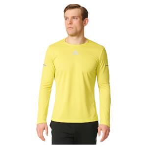 adidas Men's Sequencials Climalite Running Long Sleeve T-Shirt - Yellow