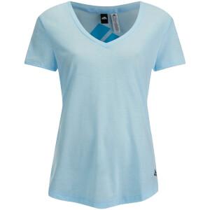 adidas Women's Logo Training V Neck T-Shirt - Blue