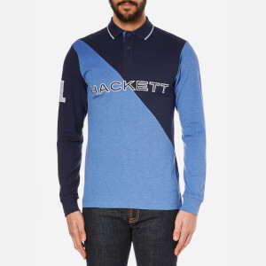 Hackett London Men's Marl Diagonal Polo Shirt - Navy/Blue