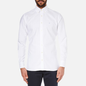 Hackett London Men's Slim Washed Oxford Long Sleeve Shirt - White