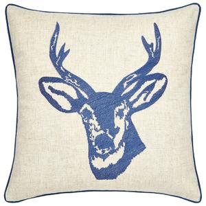 Catherine Lansfield Stags Head Cushion (45cm x 45cm) - Navy