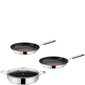 Jamie Oliver by Tefal Stainless Steel 3 Piece Frying Pan Set - 24cm, 25cm & 28cm