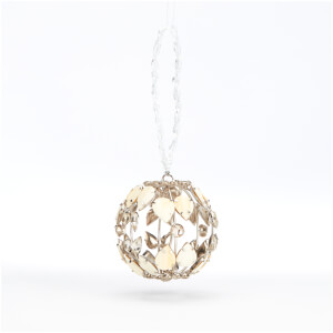 Bark & Blossom Beaded Hanging Ball - Silver