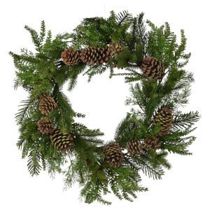 Bark & Blossom Mixed Needle Pine Wreath - Green