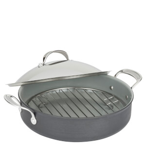 Jamie Oliver by Tefal E7669974 Professional Hard Anodised Pot Roast Pan with Stainless Steel Lid - 30cm
