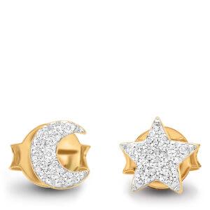 Missoma Women's Moon and Star Stud Earrings - Gold